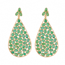 Jali 'Red Carpet' Earrings with Emeralds